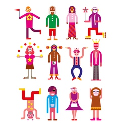Group of 12 funny people vector image