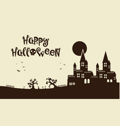 happy halloween background with castle vector image vector image