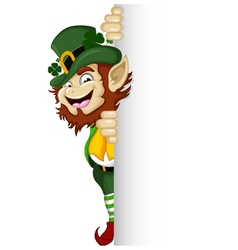 Happy Leprechaun with blank sign vector image vector image