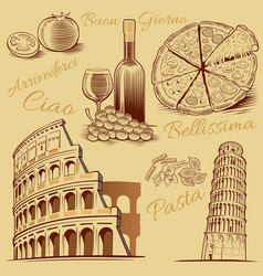 italy-hand drawn pizza pisa tower colloseum vector image vector image