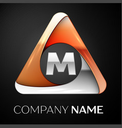 letter m logo symbol in the colorful triangle on vector image