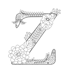 Letter Z coloring book for adults vector image vector image