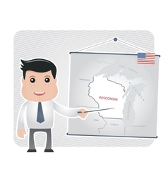 Man with a pointer points to a map of wisconsin vector