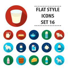 milk set icons in flat style big collection milk vector image vector image