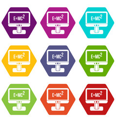 Monitor with einstein formula icon set color vector