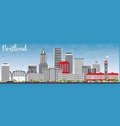 Portland skyline with gray buildings and blue sky vector