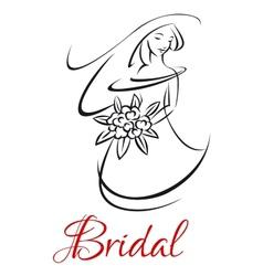 Pretty bride in wedding invitation template vector