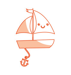 Sailboat sea kawaii character vector
