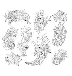 set of beautiful monochrome flowers and leaves vector image vector image