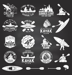 Set of canoe and kayak club badges vector
