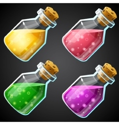 Set of cartoon potion bottle vector image