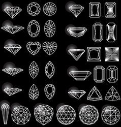 Set of shapes of diamond vector