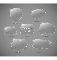 Set of transparent glass speech bubbles vector image