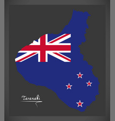 Taranaki new zealand map with national flag vector