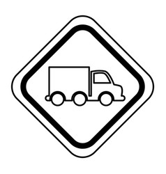 Traffic signal with truck vehicle isolated icon vector