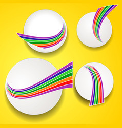 White circles with rainbow waves on yellow vector