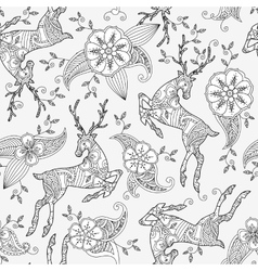Seamless pattern with running deer flying and vector