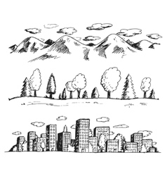 landscapes hand drawn vector image