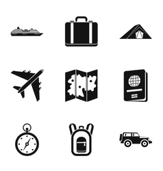 Journey to sea icons set simple style vector