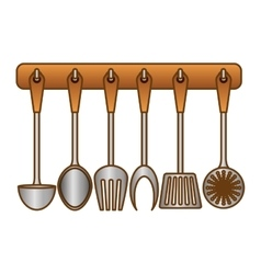 Color rack utensils kitchen icon vector
