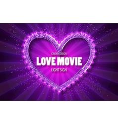 Love movie heart retro banner vector