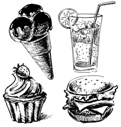 Fast food and desserts set vector