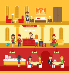 Hotel interior with people and hotel service vector