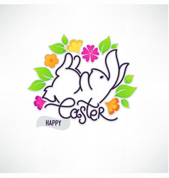 Happy easter doodle design template for your vector