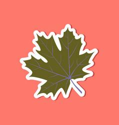 paper sticker on stylish background maple leaf vector image