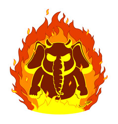 Elephantthe evil red horns fire devil vector