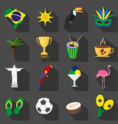 Brazil set of cartoon flat icons on the black vector