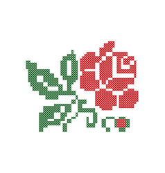 Bulgarian embroidery rose bud vector
