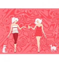 girls with cats vector image