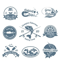 Fishing label set vector