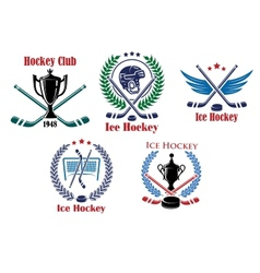 Ice hockey heraldic emblems and badges vector