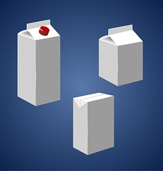 Juice milk blank white carton boxes packages vector
