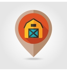 Barn house flat mapping pin icon vector