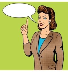 Woman point finger gesture pop art vector