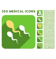 Sperm icon and medical longshadow icon set vector