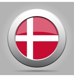 Metal button with flag of denmark vector