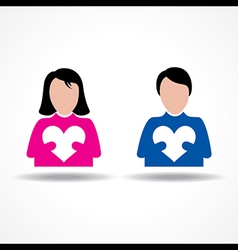 Male and Female icon having their hearts vector image