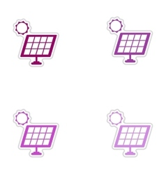Set of paper stickers on white background solar vector