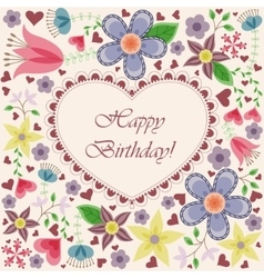 Happy birthday card with heart flowers vector