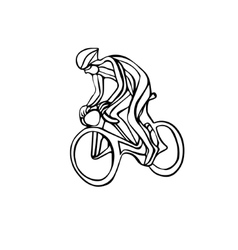 Abstract silhouette of bicyclist black bike vector