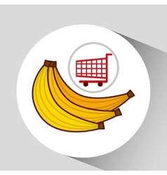 Banana ecommerce shopping cart graphic vector