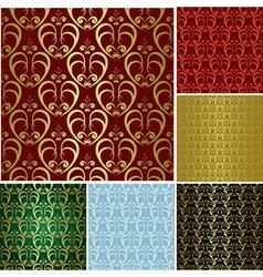 beautiful seamless patterns - set vector image vector image