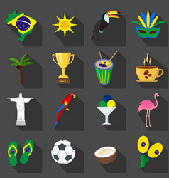 brazil set of cartoon flat icons on the black vector image vector image