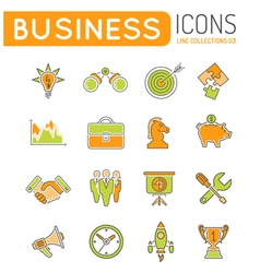 Business strategy thin lines color web icon set vector