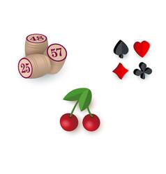 casino symbols - suits bingo kegs jackpot cherry vector image vector image