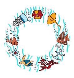 circular ornamental pattern with fish vector image vector image